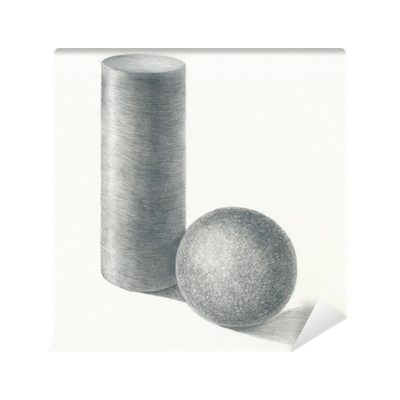 Drawing cylinder still life. And sphere pencil technique