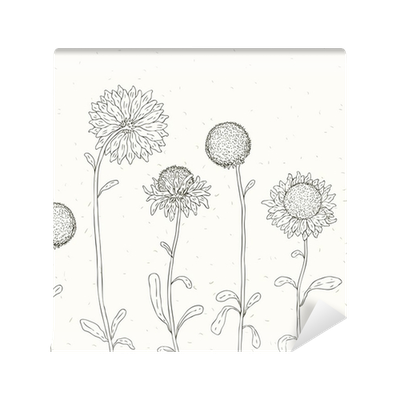 Drawing dandelion wall. Hand drawn sunflower floral