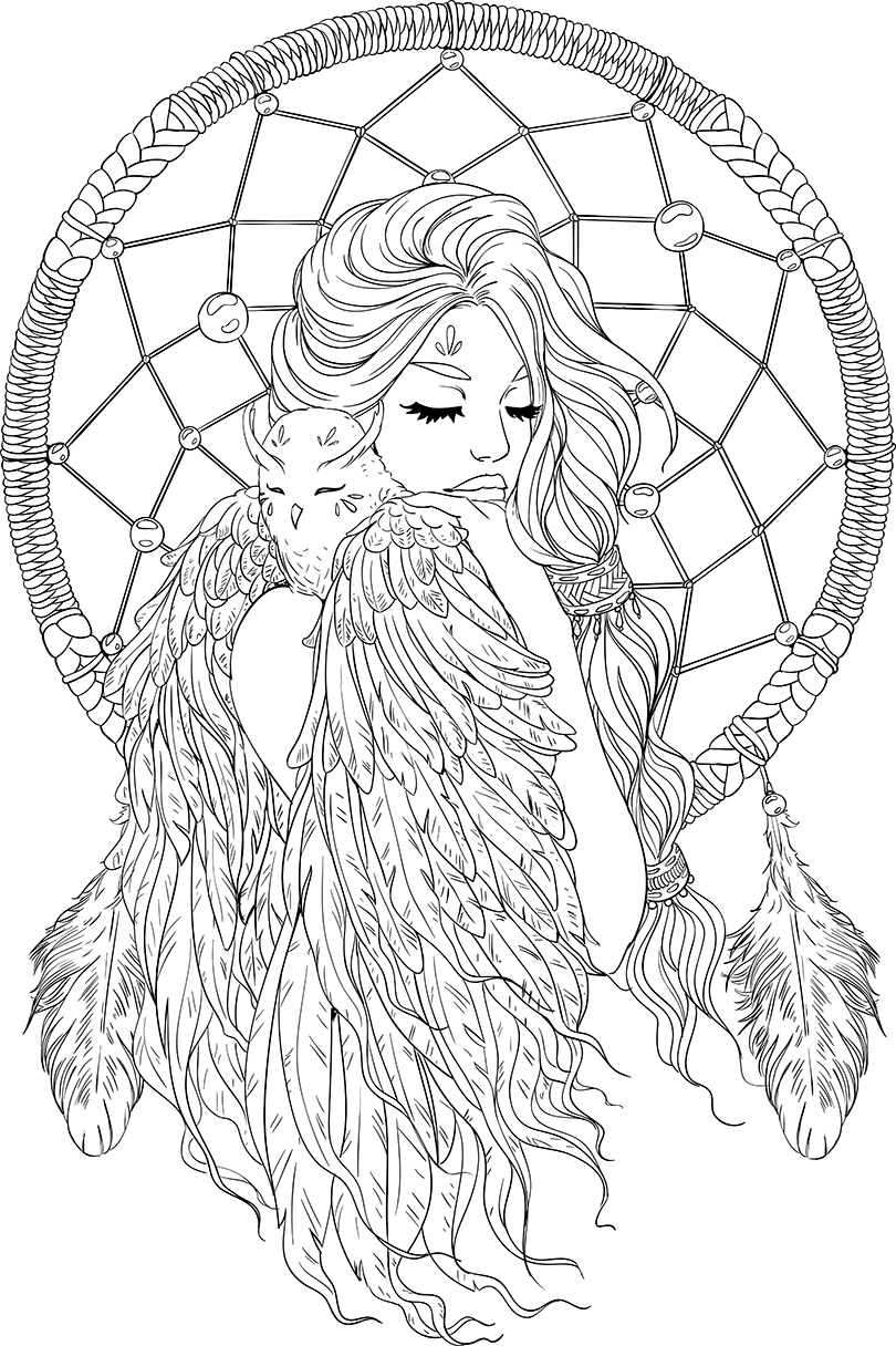 Drawing dark dreamcatcher. Lineartsy free adult coloring