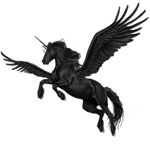 Unicorns transparent winged. Blackangel unicorn friesian black