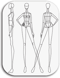 Drawing illustration body. Croqui fashion template ay
