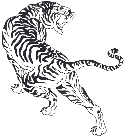 Tigers drawing front face. Tiger tattoo design sample