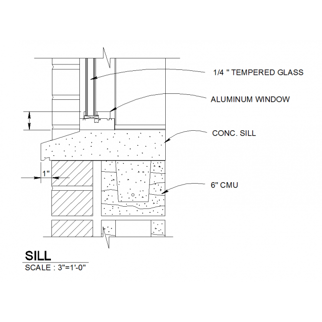 Drawing detail. D cad window