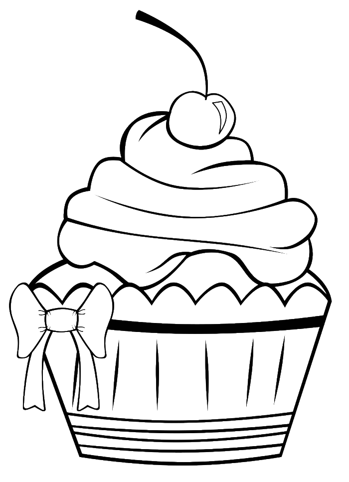 Drawing detail cupcake. A very pretty coloring