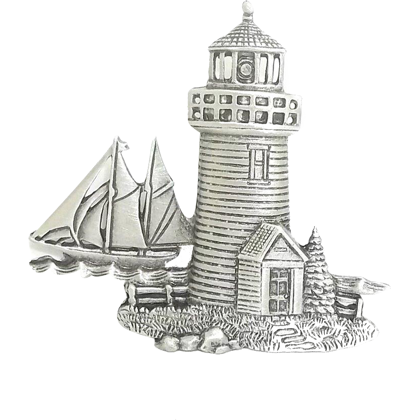 Drawing lighthouse floating. Sailboat vintage jj pin