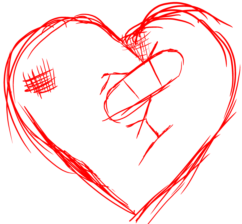 Drawing details broken heart. Collection of png