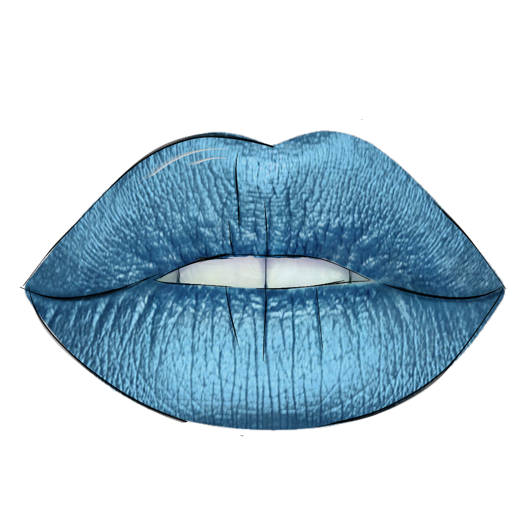 Drawing lipstick outline. Outlines lips blue remix
