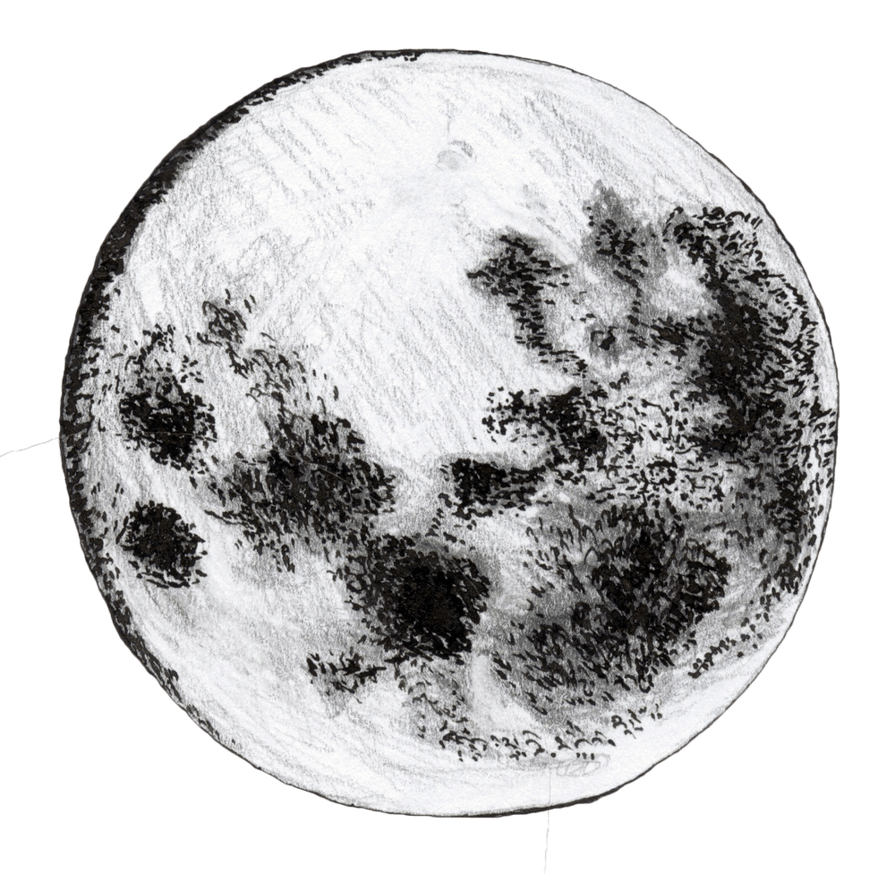 Drawing place moon. The is a cheese