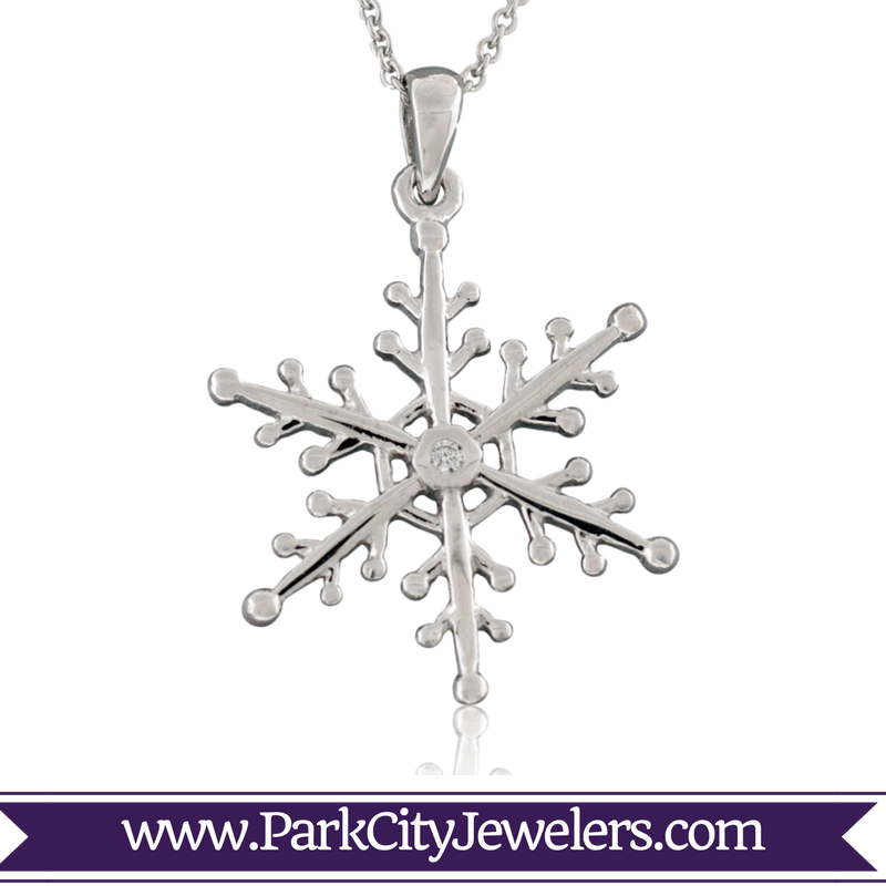 Drawing details snowflake. Single diamond necklace park
