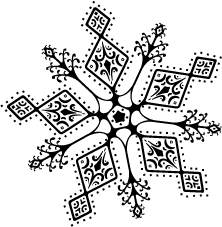 Drawing details snowflake. Image silhouette png seirei