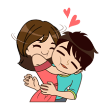 Drawing diary couple. Cute funny lovely sticker