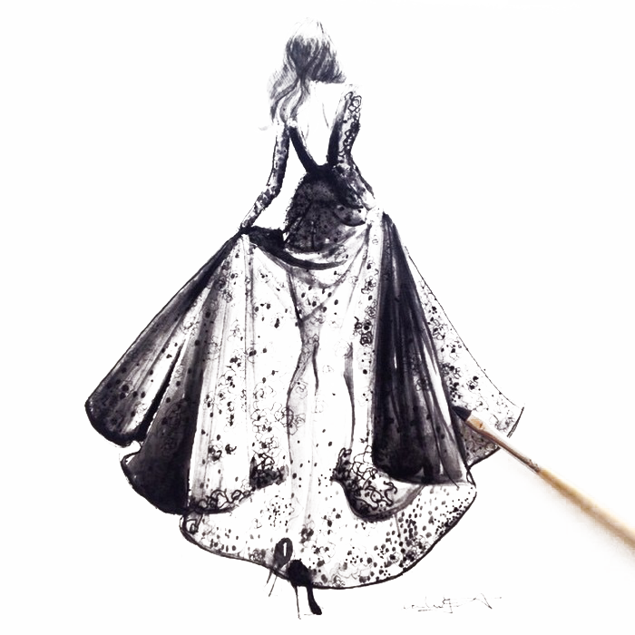 Drawing diary couture dress. Paris fashion week illustration