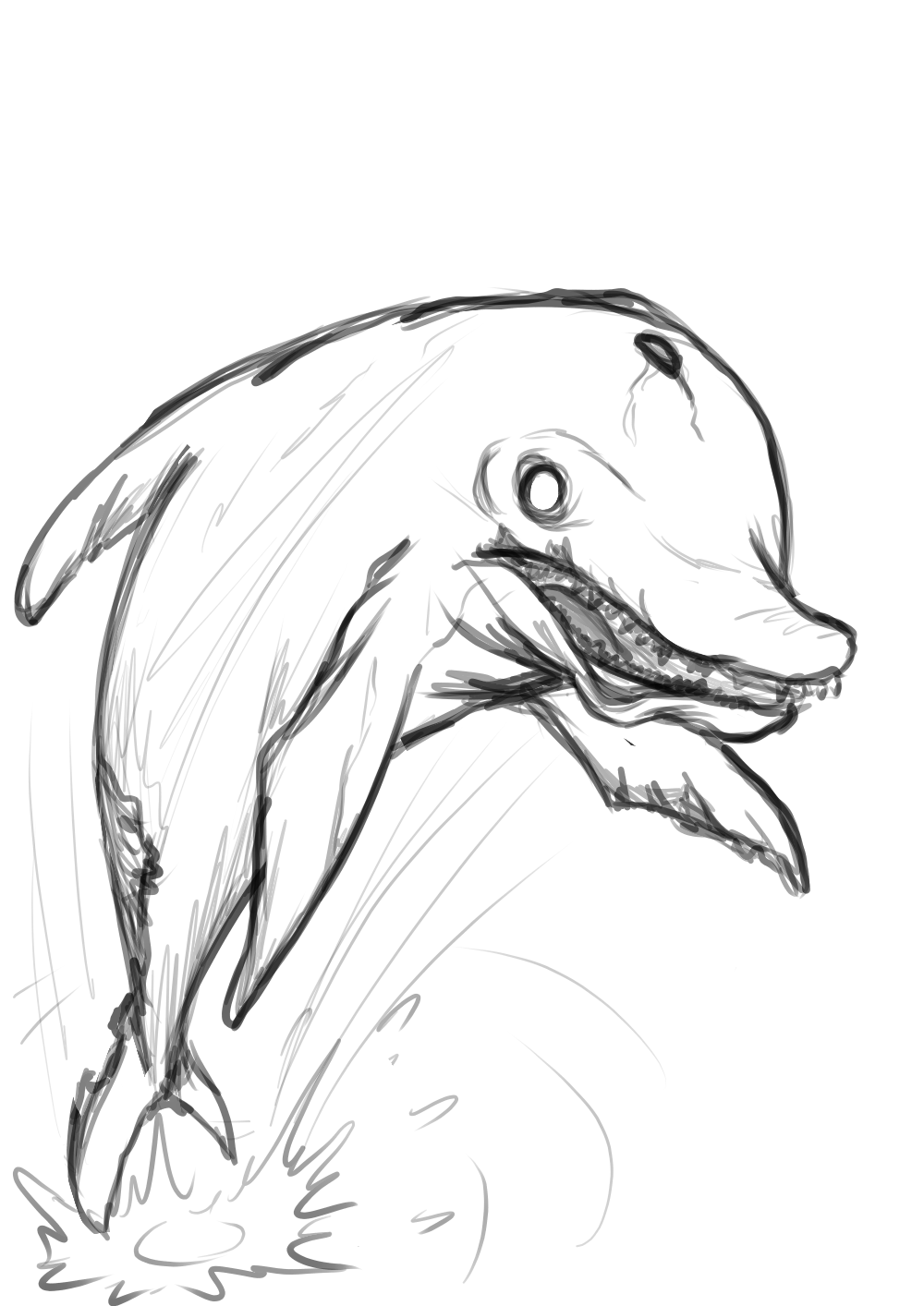 Drawing diary daily sketch. Zombie dolphin by powerofsin