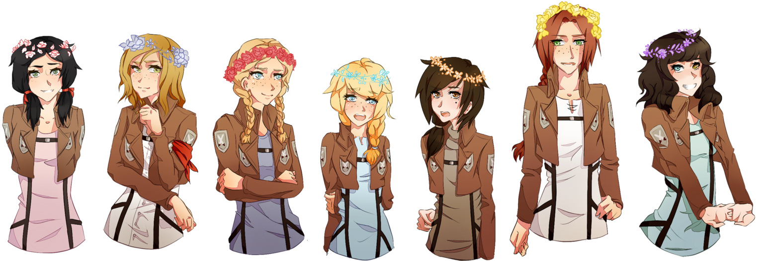Drawing diary girl squad. Flower crown by pandatama