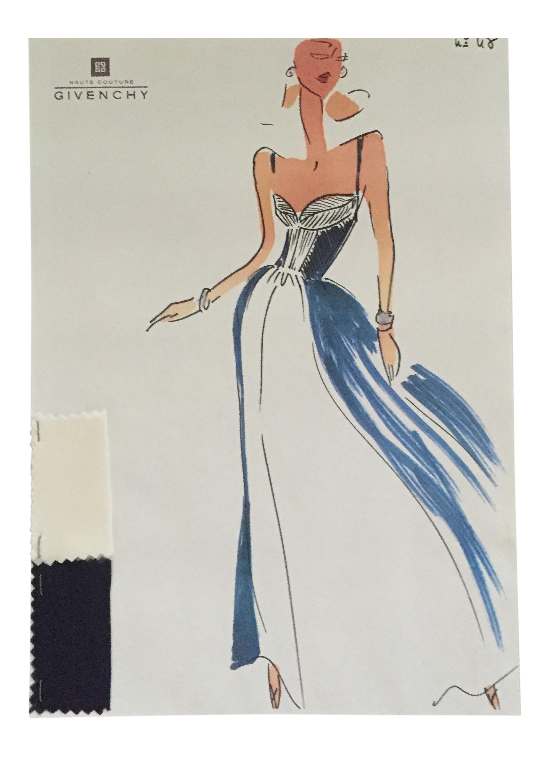 Drawing diary haute couture gown. Givenchy croquis sketch chairish