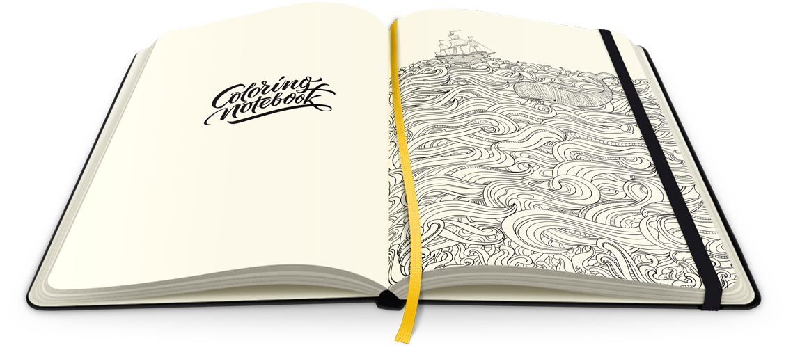 Drawing journals diary. Paper notebook with coloring