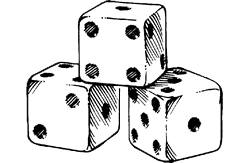 Drawing dice. Three man college party