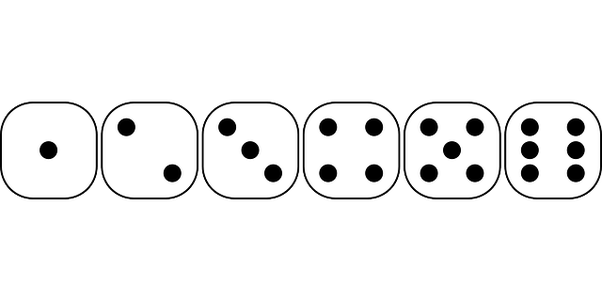 Drawing dice six dot. A die is thrown