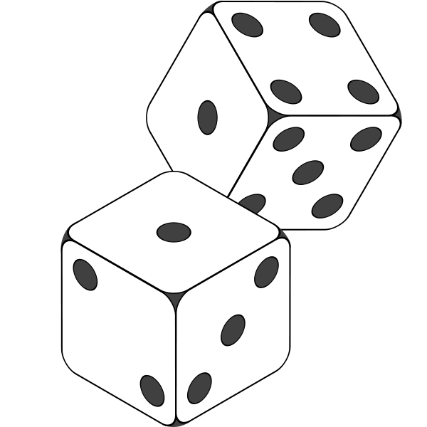 Drawing dice two. Collection of png