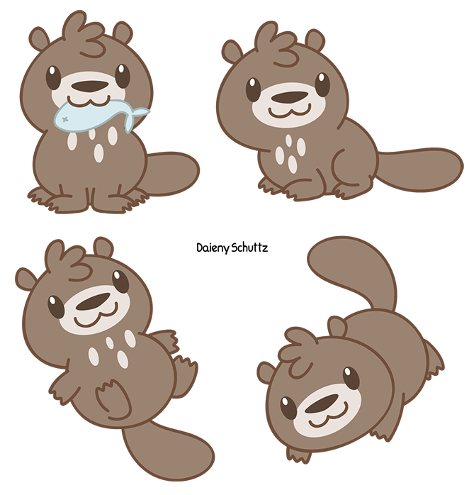 Drawing river cartoon. Chibi giant otter by