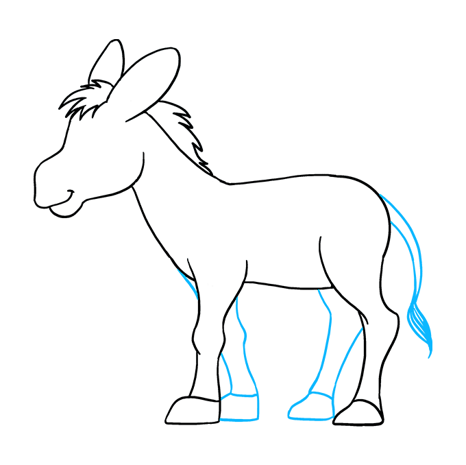 Drawing donkey carton. How to draw a