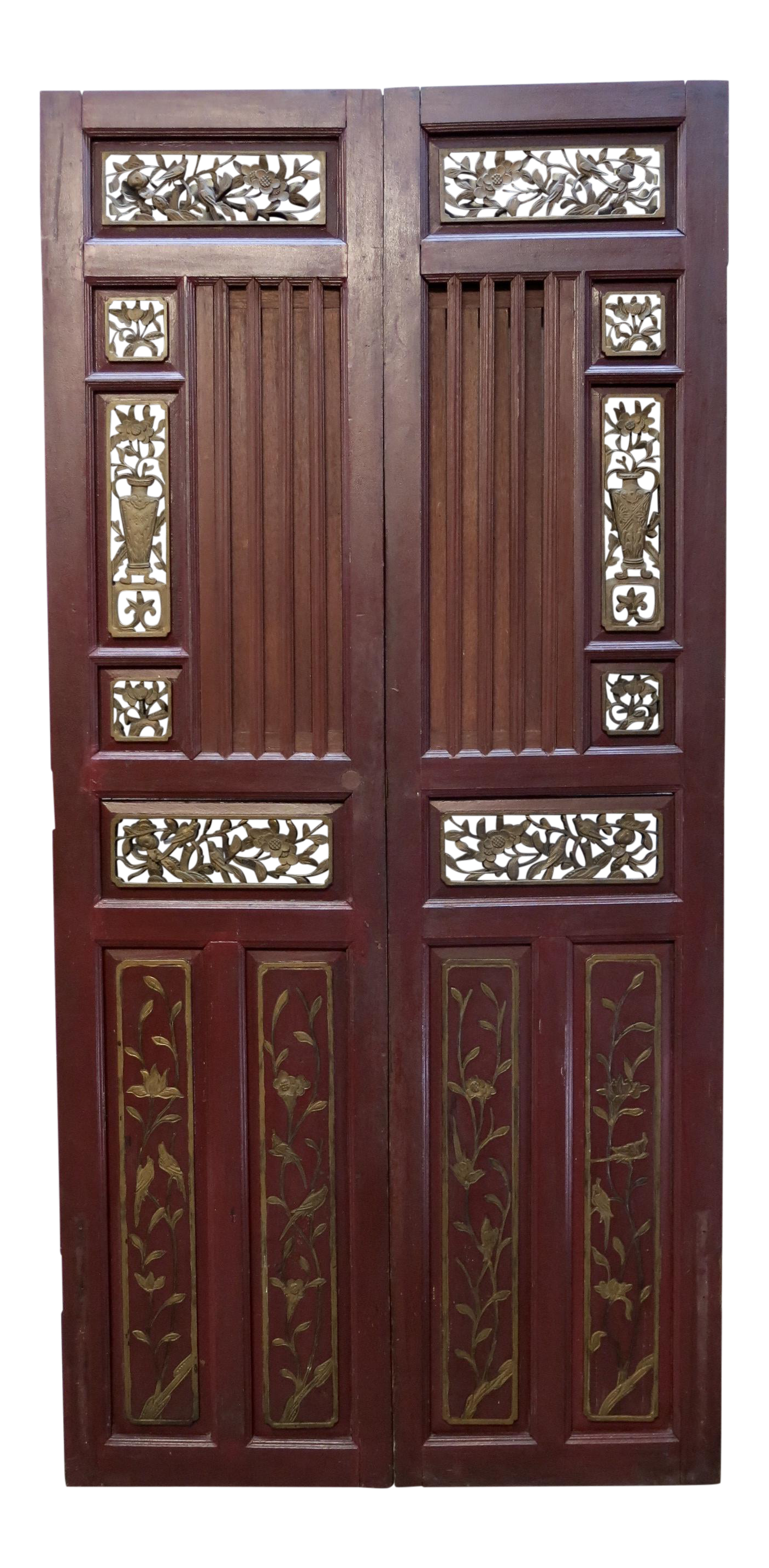 Drawing door antique. Chinese hand carved wooden