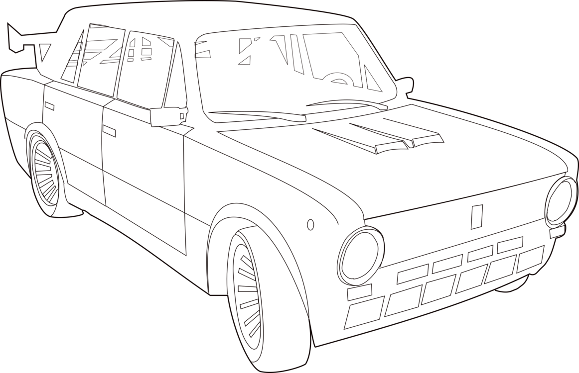 Drawing door coloring book. Compact car lada vehicle