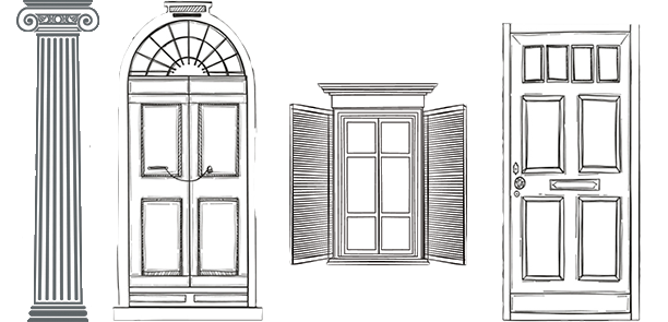 Drawing door house. Lamar wallace millwork excellence