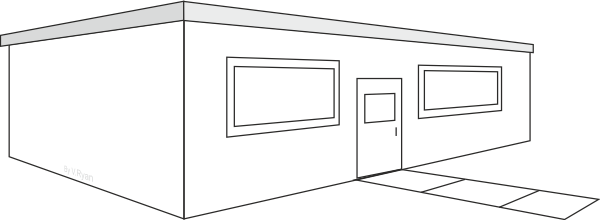 Drawing door perspective. House two point