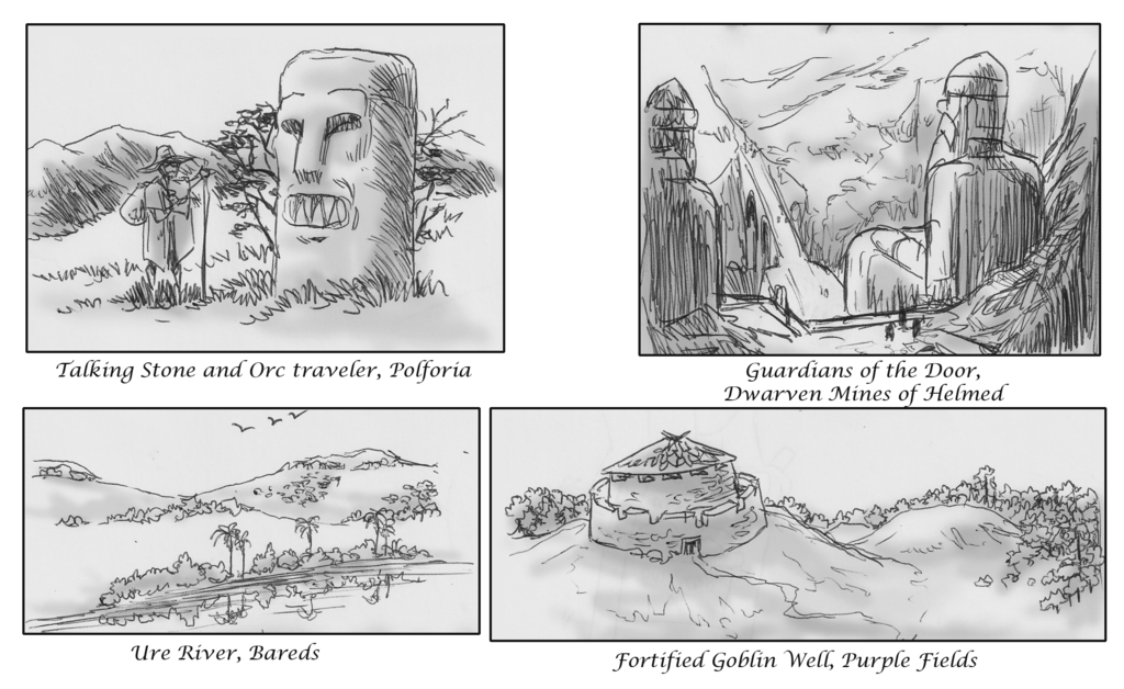 Drawing doors fantasy. Landscapes of aiers by
