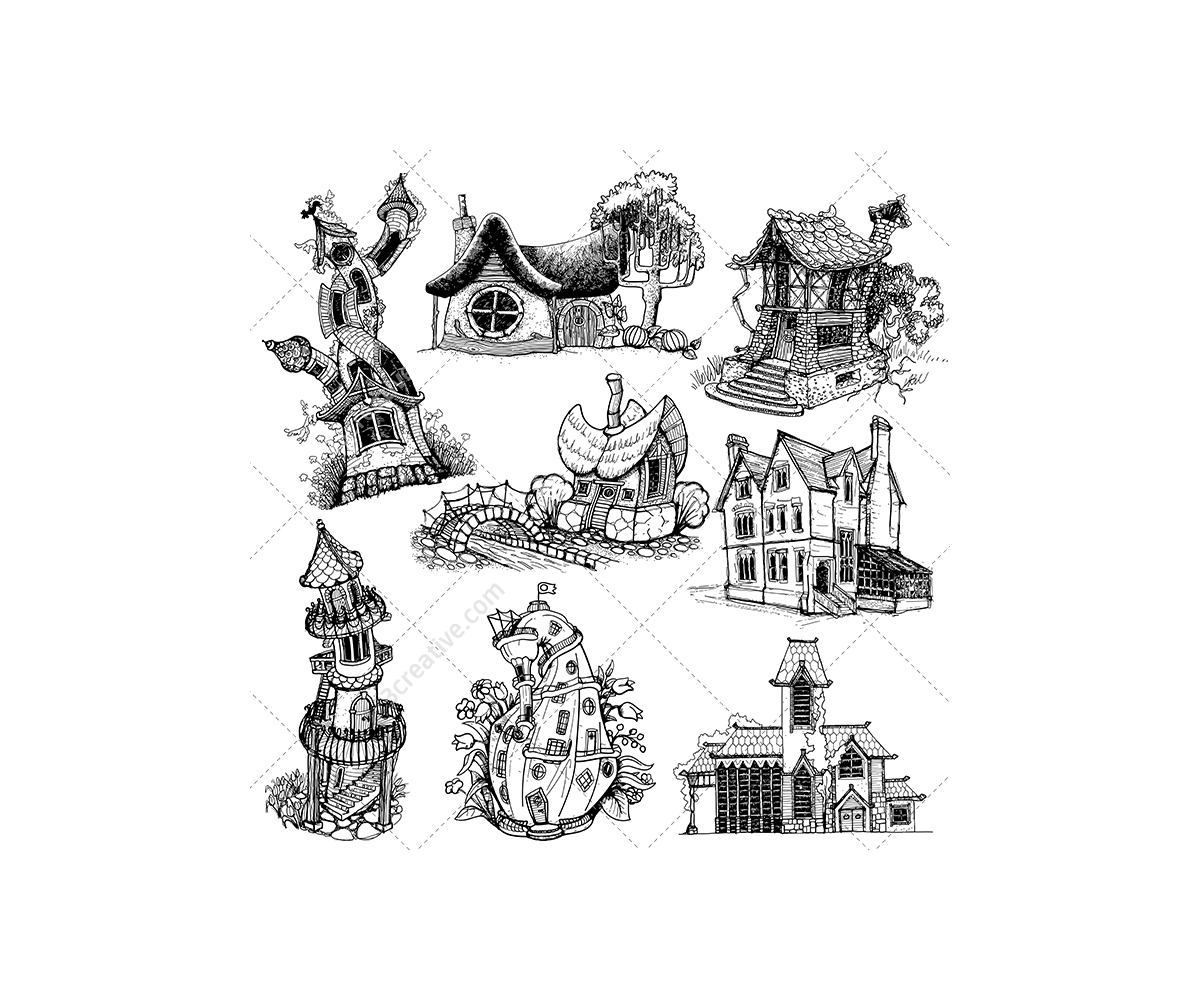 Cottage vector hand drawn. Fantasy houses pack higgledy