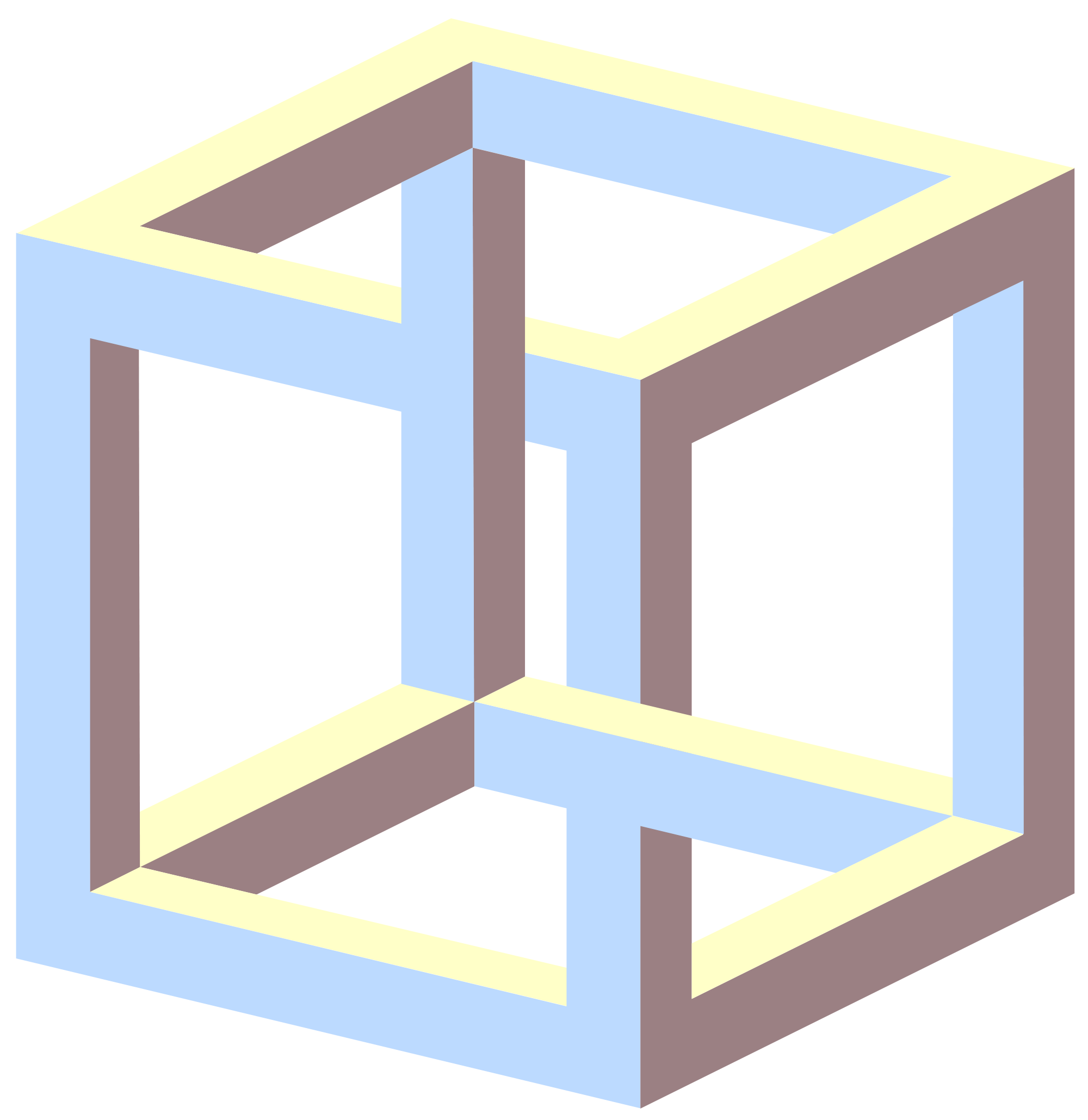 Edge drawing optical illusion. The impossible cube or