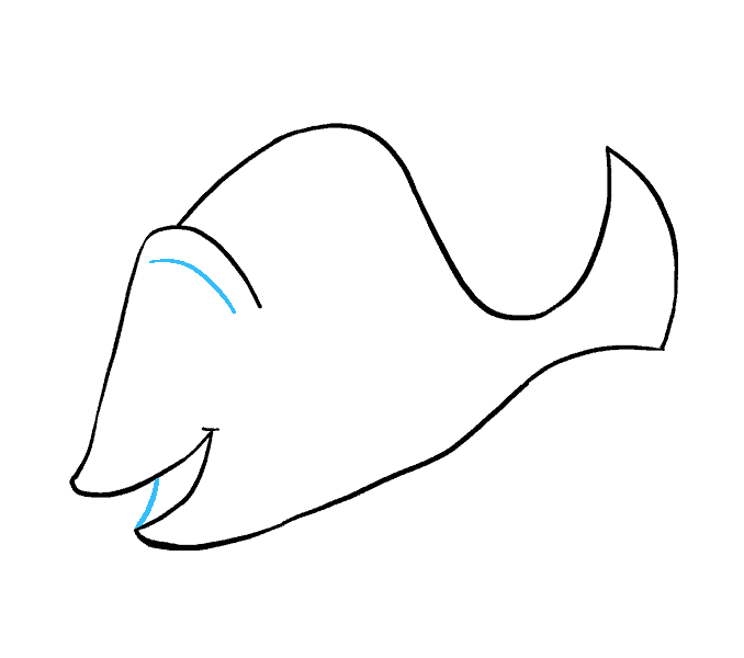 Drawing dory blue tang fish. How to draw in