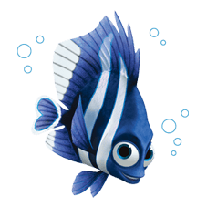 Drawing dory underwater. Finding nemo line official