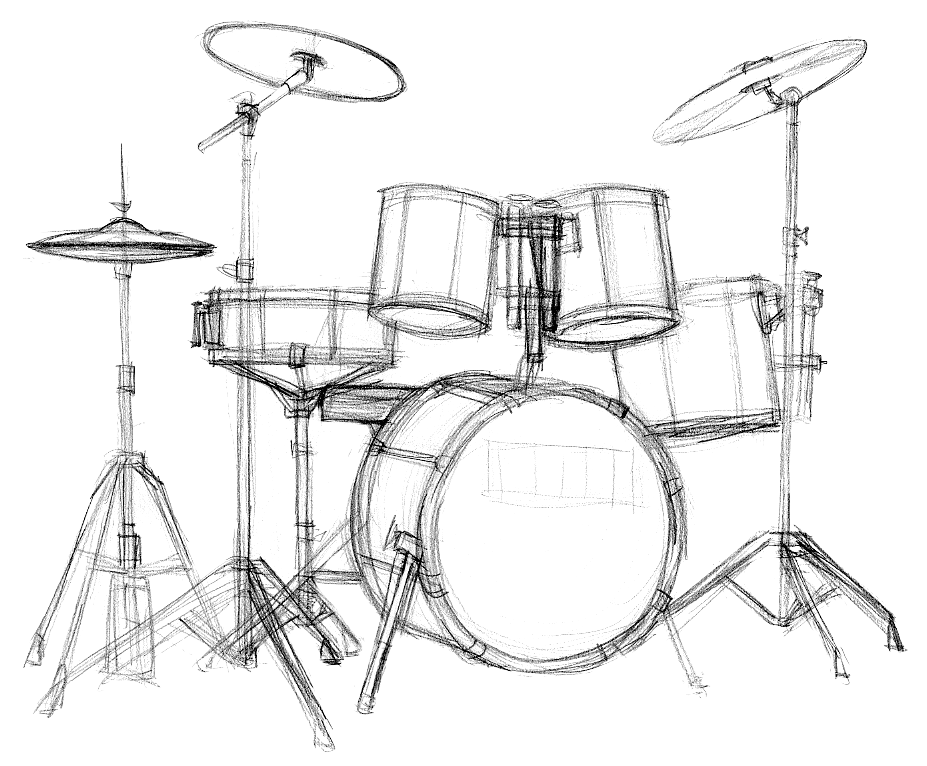Drawing drums hand. Drumkit learn to draw