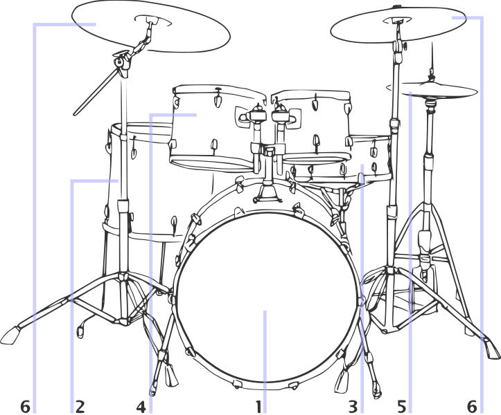 Drawing drums. File drum kit illustration