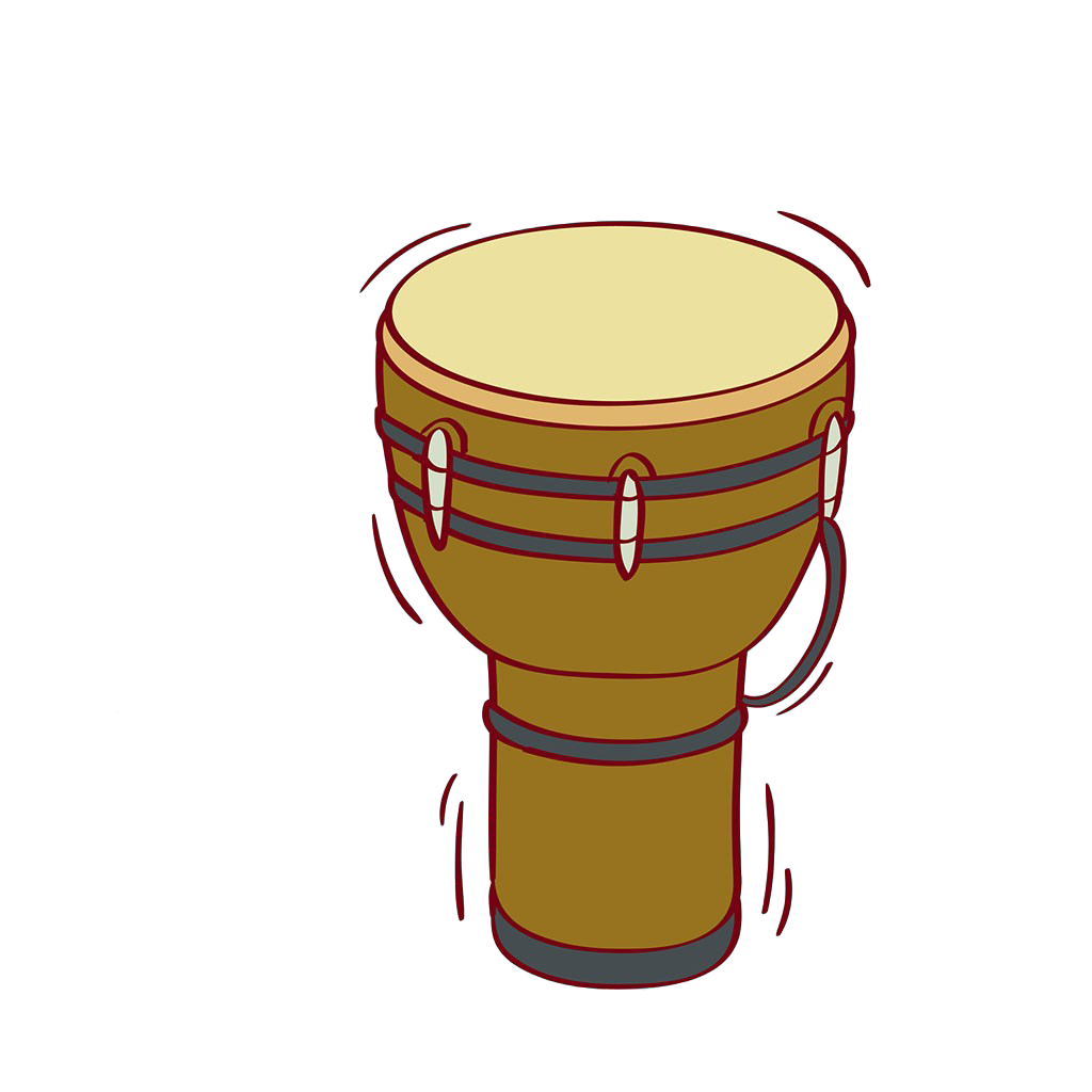 Drawing drums african drum. Djembe snare percussion illustration