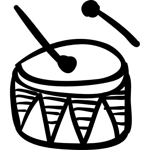 Drawing drums hand. Drum drawn musical percussion