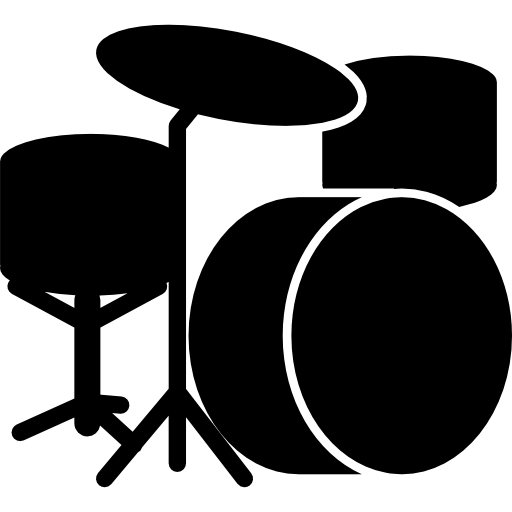 Drummer vector silhouette. Drum set icons free