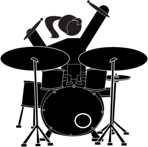 Drawing drums still life. Girl drummer clip art