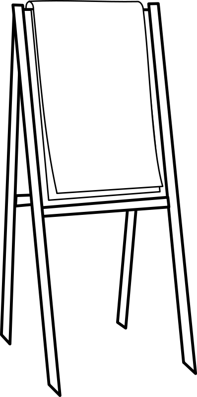 Easel black and white. Afro clipart outline graphic black and white library