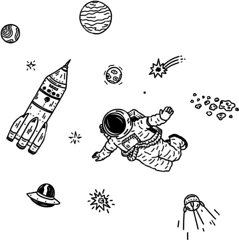 Sketchy drawing outer space. Edits outerspace galaxy astronaut