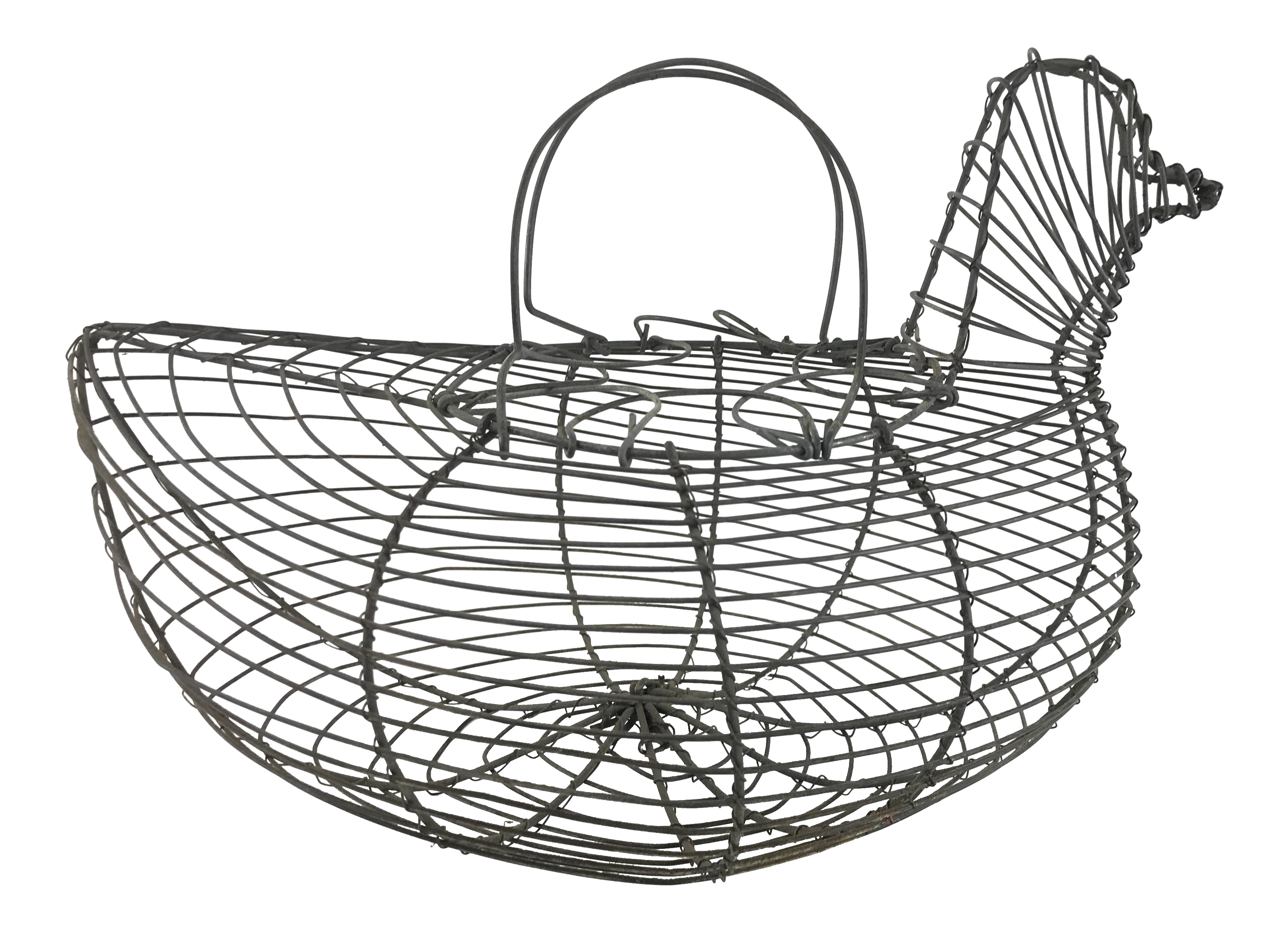 Drawing egg hen. Vintage french wire basket