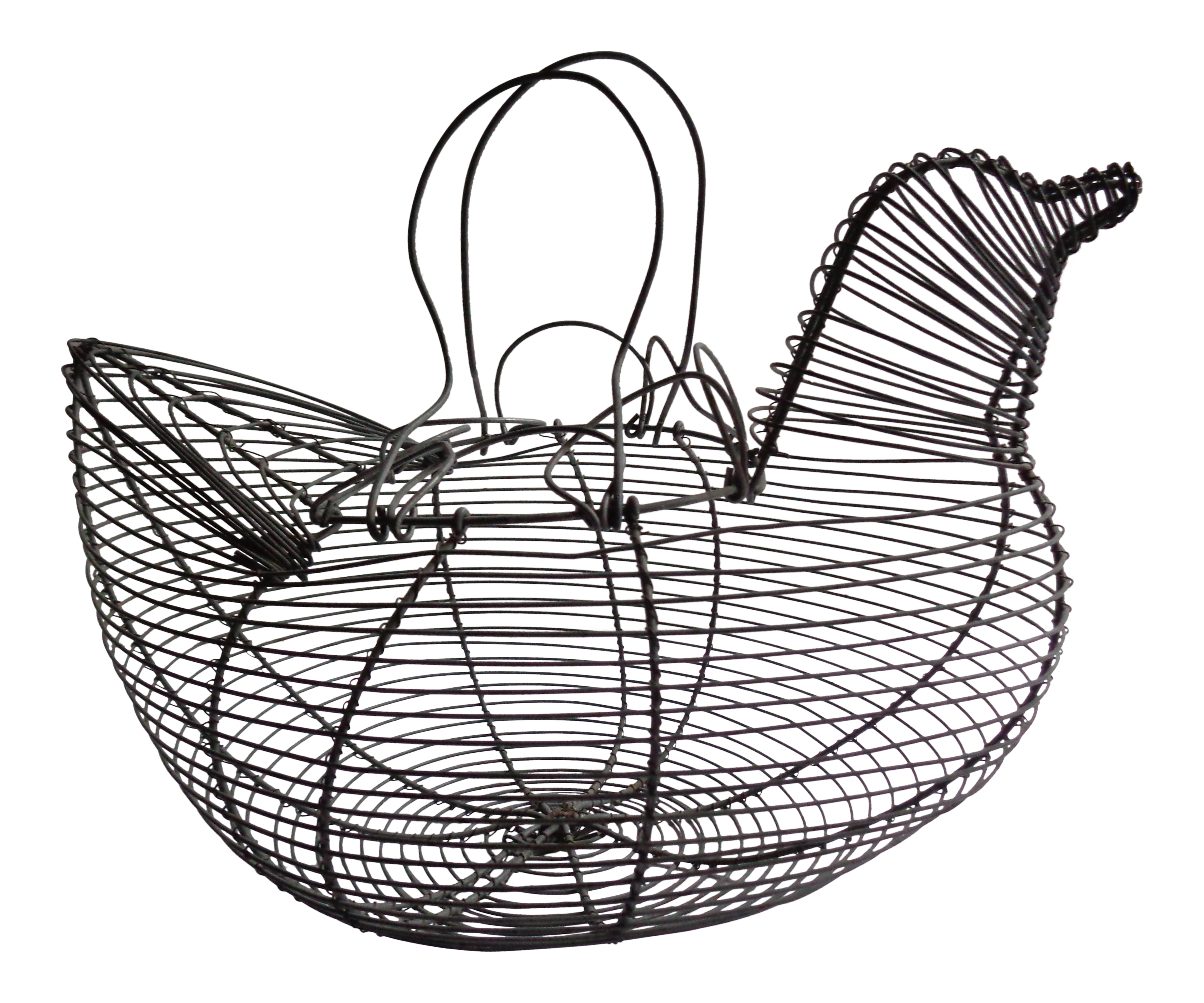 Drawing egg hen. Vintage french wire holder