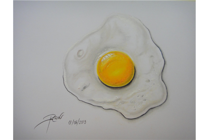 Drawing egg pencil. Columbus fried his by