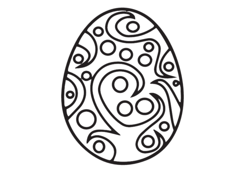 Drawing egg template. Fancy easter coloring page