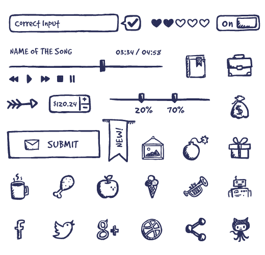 Drawing elements hand drawn. Jolly bundle icons ui