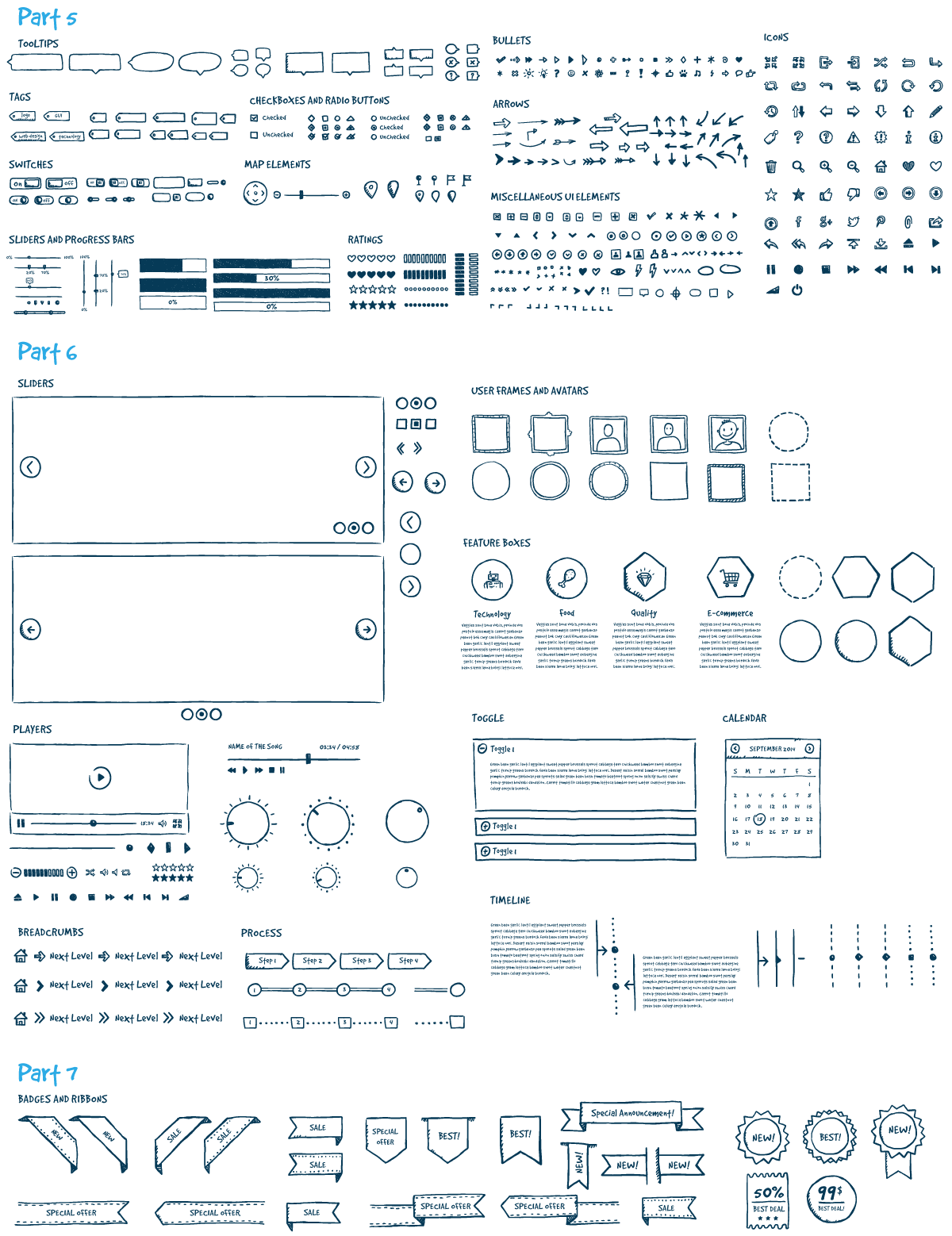 Site drawing hand drawn. Jolly ui vector kit