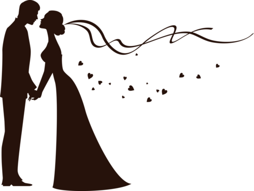 V drawing silhouette. Bride and groom another