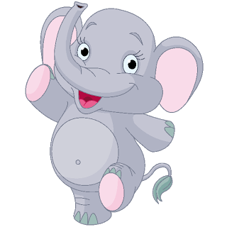 Drawing elephants background. Cute baby elephant cartoon